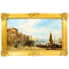 Antique Oil Painting Venetian Scene of The Grand Canal J.Vivian, 19th Century