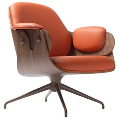 Jaime Hayon, Contemporary, Plywood Orange Leather Low Lounger Armchair
