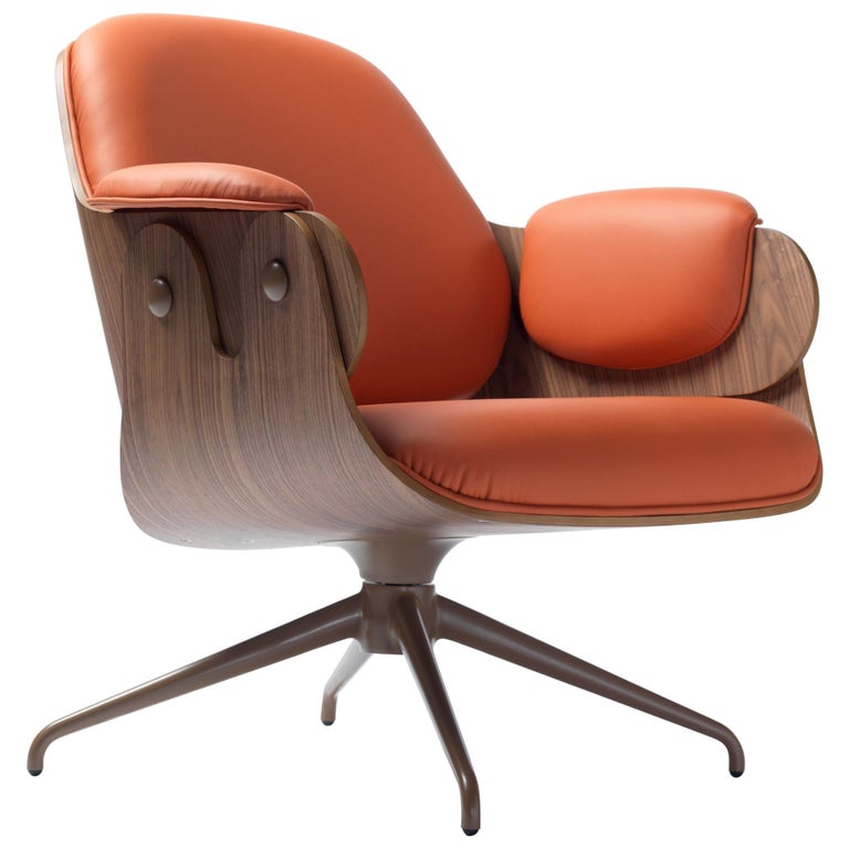 Jaime Hayon, Contemporary, Plywood Orange Leather Low Lounger Armchair For Sale