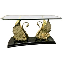 Brass and Glass Swan Console Table
