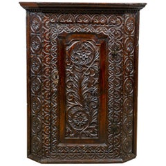 Antique Corner Cabinet, English, Georgian, Carved, Oak, Hanging Cupboard