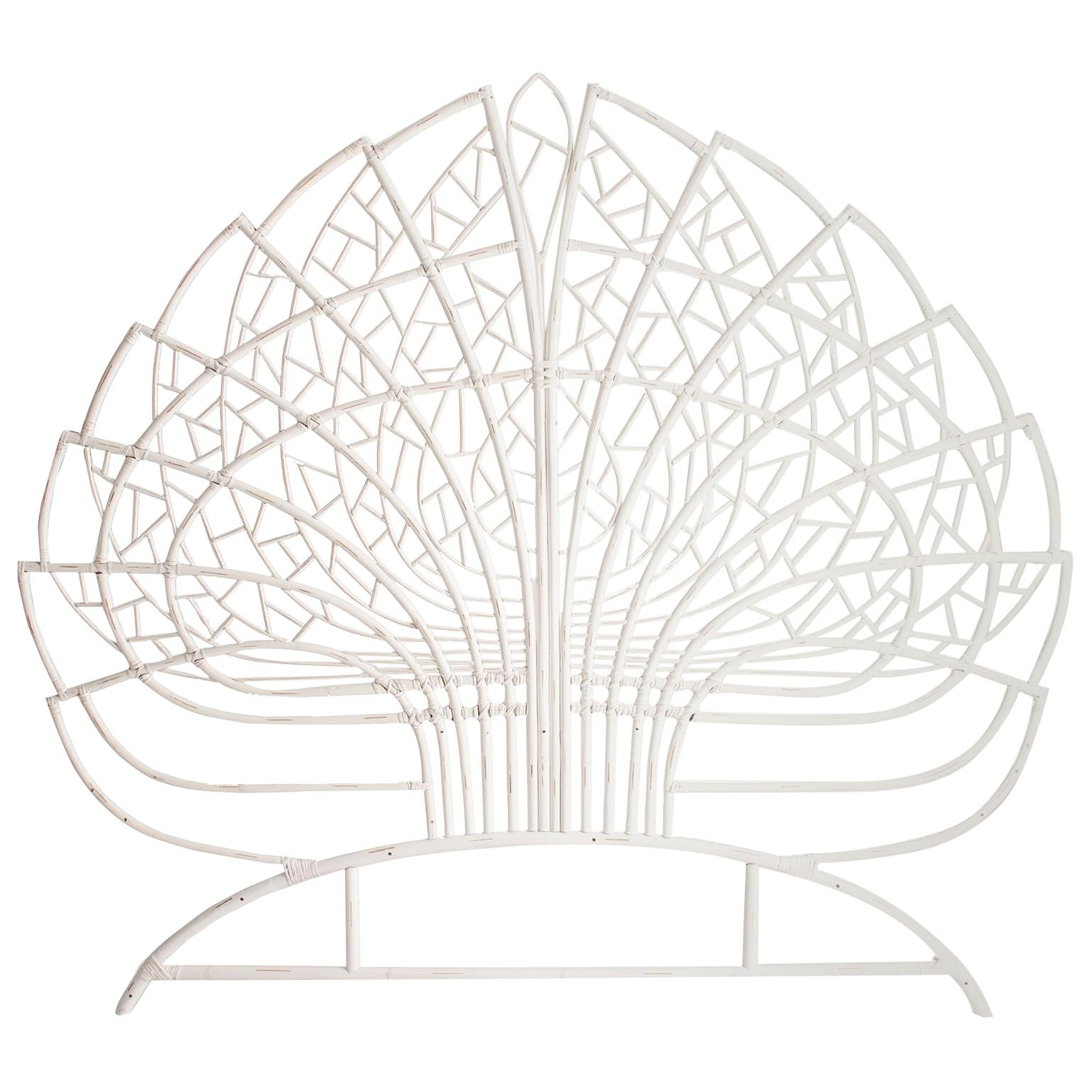 White Patina Lacquered Rattan and Wicker Queen Size Headboard