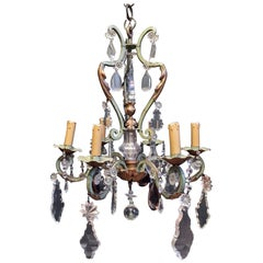 Antique French Crystal and Amethyst Chandelier, circa 1900