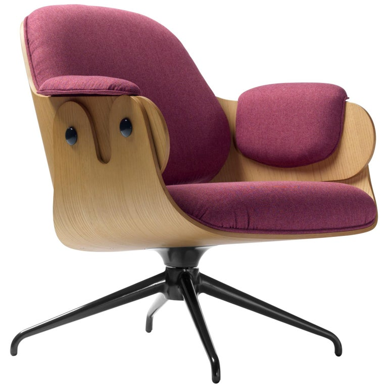 Jaime Hayon, Contemporary, Oak, Fuchsia Upholstery Low Lounger Armchair For Sale
