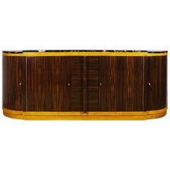 1930s Rounded Art Deco Sideboard by Jean Fauré, Macassar Ebony, France
