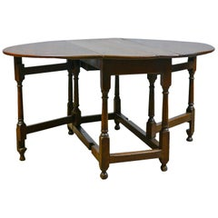 Antique Gate Leg Table, English, Georgian, Oak, Country Kitchen Dining