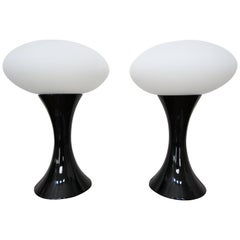 Pair of Midcentury Italian Black Ceramic and Porcelain Table Lamps