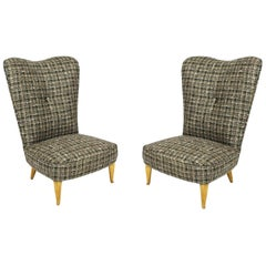 1940s Pair of Low Chairs, Beech Feet, Green, Beige and White Wool, Italy
