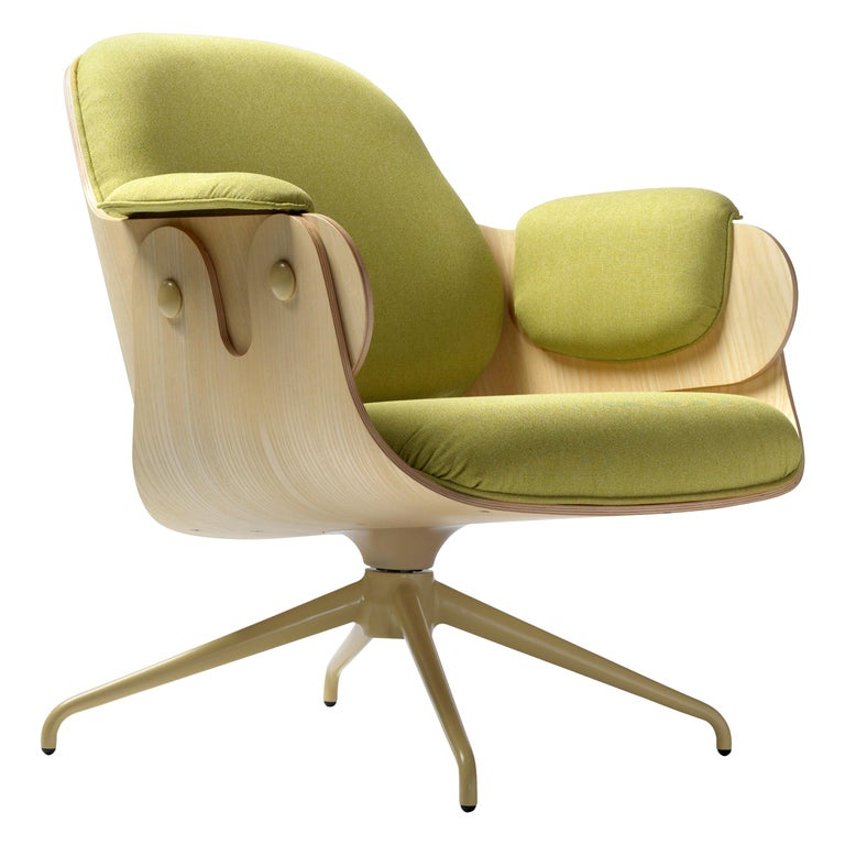 Jaime Hayon, Contemporary, Ash, Pistachio Upholstery Low Lounger Armchair For Sale