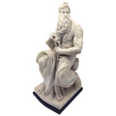 19th Century Italian White Marble Sculpture of Mosè after Michelangelo