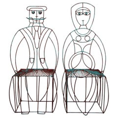Pair of Midcentury Figural His and Hers Steel Wire Patio Chairs by John Risley