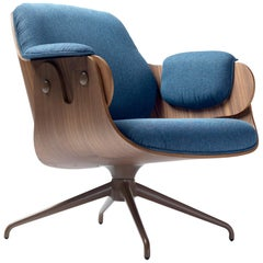 Jaime Hayon, Contemporary, Walnut, Blue Upholstery Low Lounger Armchair