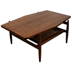 Midcentury Walnut and Cane Coffee Table by Jens Risom