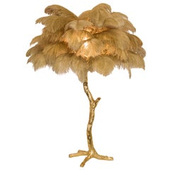 The Mini Feather Lamp with Gold Base