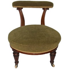 William IVth Nursing Chair Walnut Hand Carved Reeded Detail, English, circa 1830