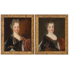 Delicious Naif Paintings of Two Daughters of Louis XV, 18th Century