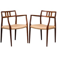 N.O.Moller Pair of Lounge Rosewood Chairs, Model 64