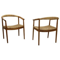 Vintage Pair of Oversized Danish Style Teak and Cane Round Back Side Chairs