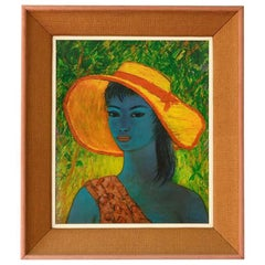 S. Rajko Midcentury Print Tahiti Lady, 1960s