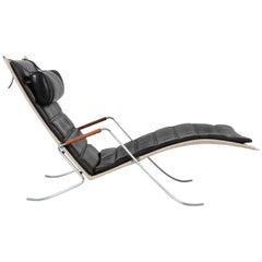 Preben Fabricius & J.Kastholm F K 87 Grasshopper Black Chaise Lounge