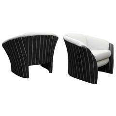 Pair of Oversized Barrel Back Italian Lounge Chairs with Splayed Arms
