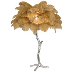 The Mini Feather Lamp with Silver Base