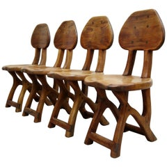 Set of 4 California Modern Studio Craft Primitive Wood Chairs