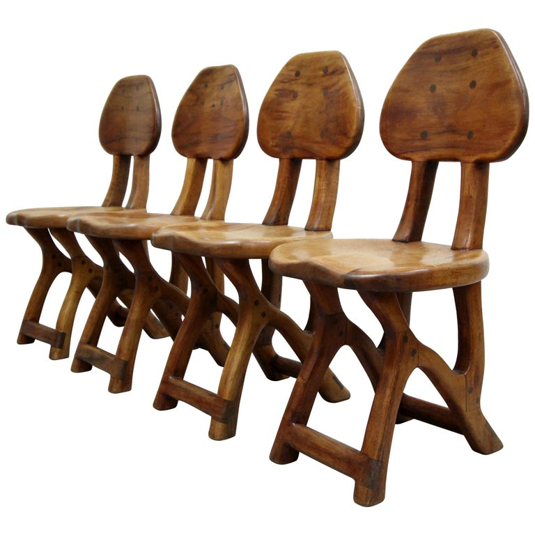 Set Of 4 California Modern Studio Craft Primitive Wood Chairs For