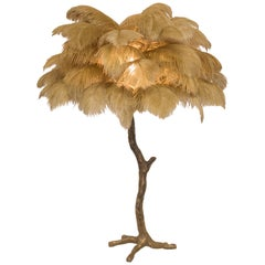 The Mini Feather Lamp with Bronze Base
