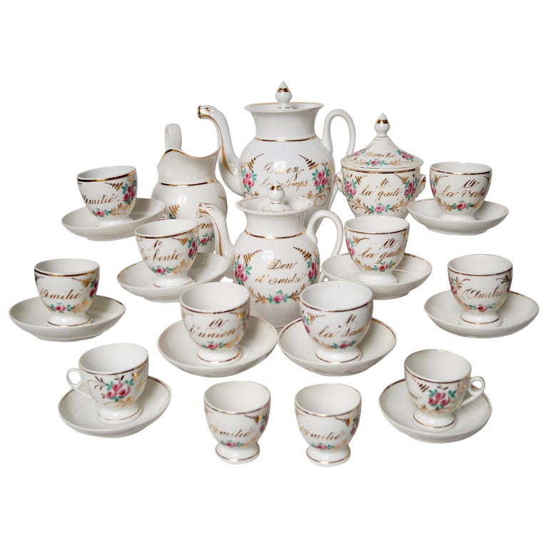 Particular and Rare Old Paris Hand-Painted Porcelain Coffee Tea Service, France For Sale