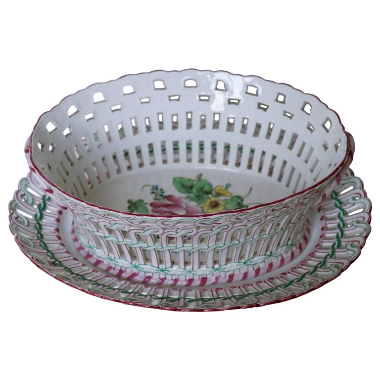 Antique Luneville K&G Strassbourg Porcelain Baskets with Underplate, France For Sale