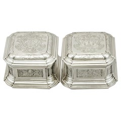 Antique 1733 George II Sterling Silver Toilet Boxes