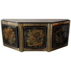 Etched Brass and Lacquer Credenza by Bernhard Rohne for Mastercraft