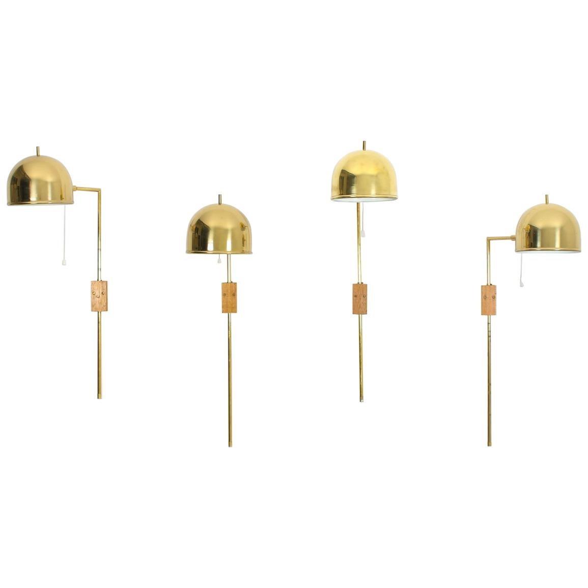 Scandinavian Midcentury Wall Lamps in Brass by Bergboms, Sweden
