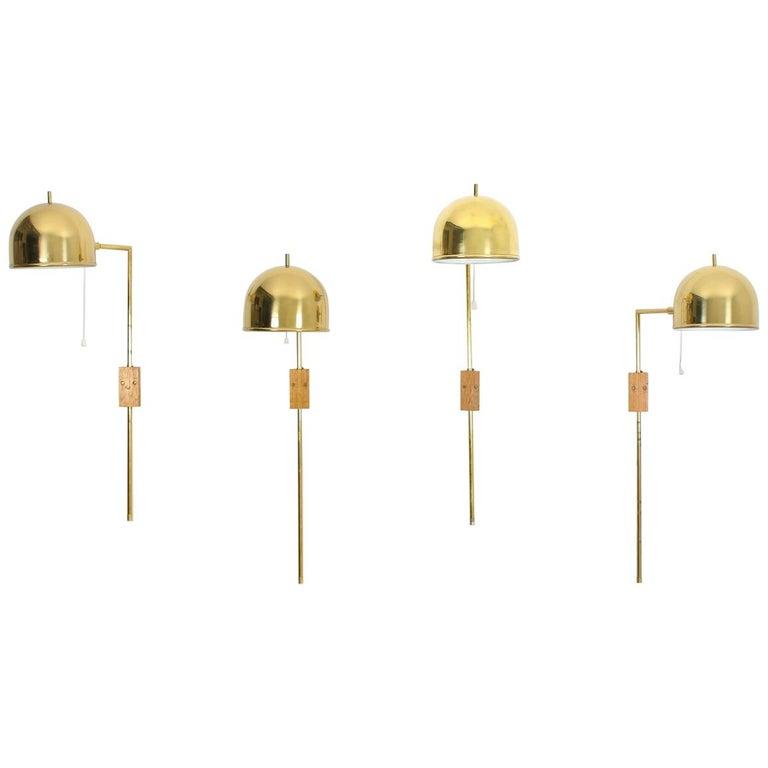 Scandinavian Midcentury Wall Lamps in Brass by Bergboms, Sweden For Sale