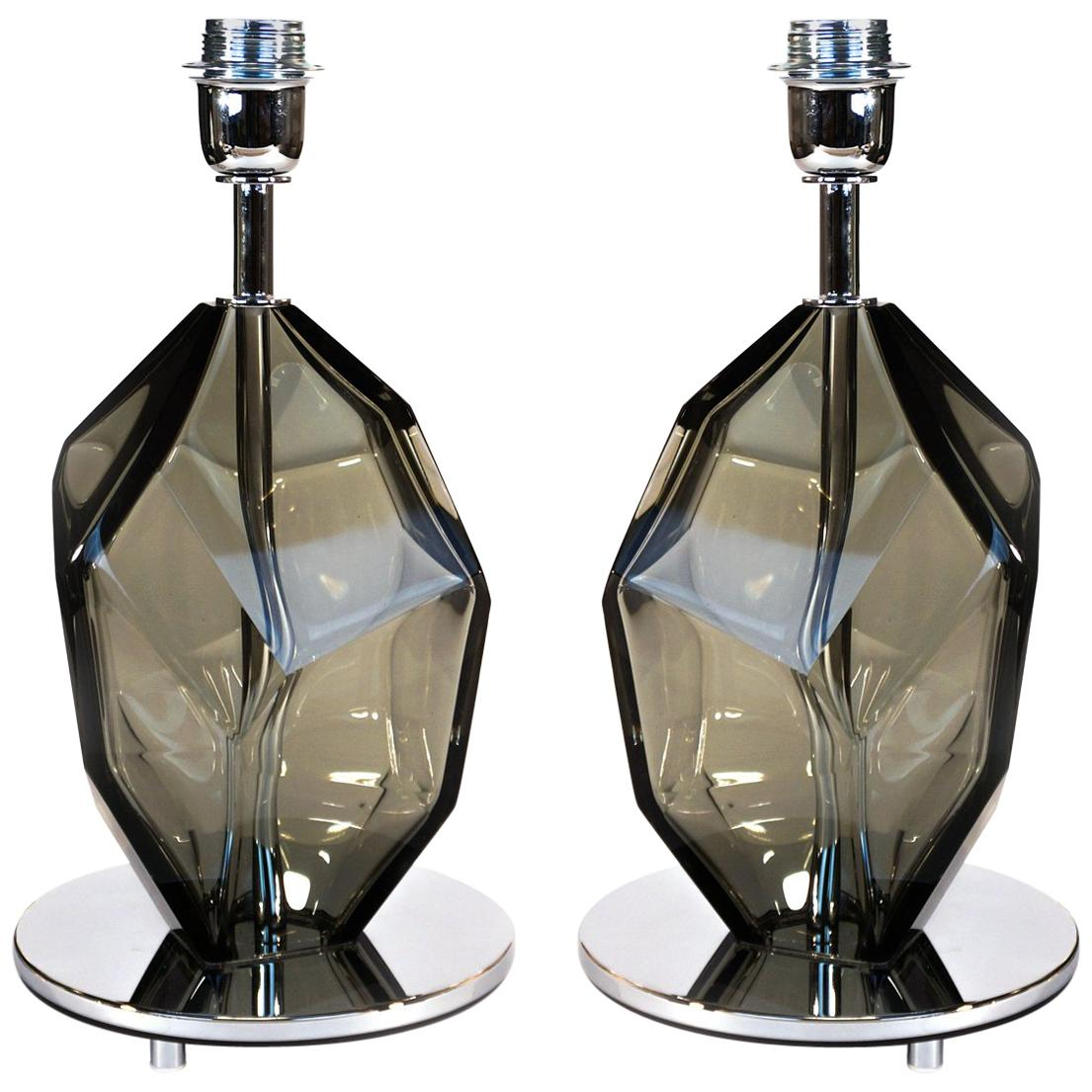 Toso Murano Pair of Grey Italian Murano Glass Table Lamps Faceted, 1991