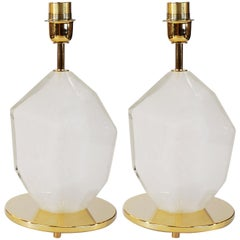 Toso Murano Pair of White Italian Murano Glass Lamps Solid Faceted, 1990s