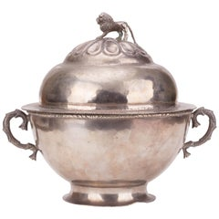 1780s Colonial Peruvian Globe Shaped Tureen with Lion Shaped Knob on Lid