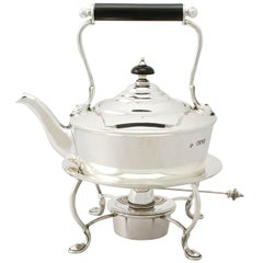 Edwardian English Sterling Silver Bachelor Spirit Kettle