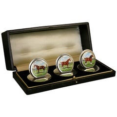 Cased Set Three Antique Silver and Enamel Menu Holders 'Horses' Chester, 1905
