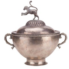 1780s Mexican 900 Silver Globe Shaped Tureen Topped with a Rampant Lion