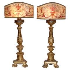 Pair of Gilt Candlestick Lamps with Parchment Shades, Italian, 18th Century