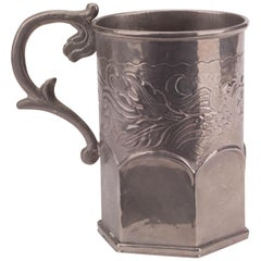 19th Century Silvered Metal Jug with Floral Engravings