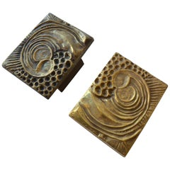 1970s Brutalist Pair of Bronze Push and Pull Door Handles with Abstract Relief