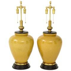 Pair of Large Mustard Glazed Ceramic Lamps by Frederick Cooper