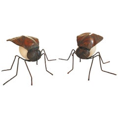 Pair of Mid-Century Modern Fly Shaped Table Lamps, Arts & Crafts, France