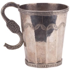 18th Century Probably Peruvian Silver Engraved Jug with Snake Shaped Handle