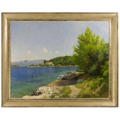 Oil Painting of a View of Vrnik in Croatia