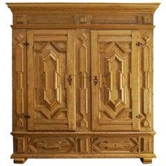 Antique German Baroque Stripped Oak Two-Door Wardrobe Cupboard
