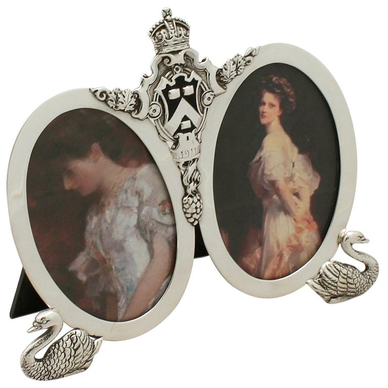 Antique George V Sterling Silver Double Photograph Frame For Sale
